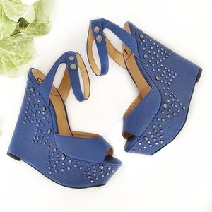 Penny Loves Kenny Blue Studded Open Toe Wedges